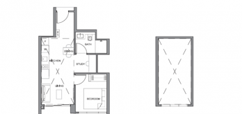 parc clematis 1-bedroom S2 layout