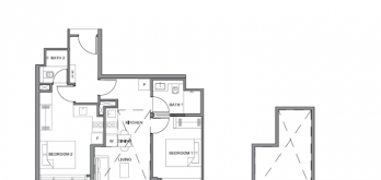 parc clematis floor plan for 2-bedroom dual key