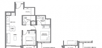 parc clematis 2-bedroom plus study floor plan