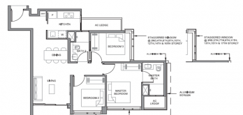 parc clematis condo layout for 3-bedroom